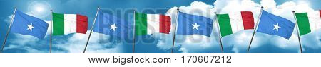 Somalia flag with Italy flag, 3D rendering