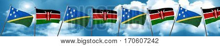 Solomon islands flag with Kenya flag, 3D rendering