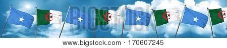 Somalia flag with Algeria flag, 3D rendering