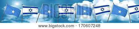 Somalia flag with Israel flag, 3D rendering