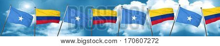 Somalia flag with Colombia flag, 3D rendering