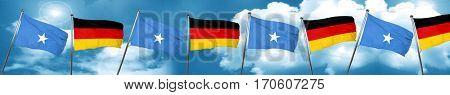Somalia flag with Germany flag, 3D rendering