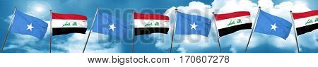 Somalia flag with Iraq flag, 3D rendering