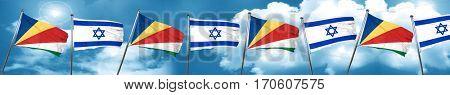 seychelles flag with Israel flag, 3D rendering