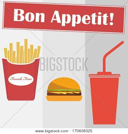 French fries, hamburger, cola, fast food. Flat design, vector illustration, vector.