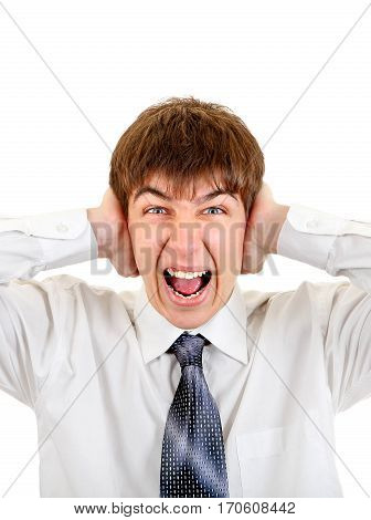 Stressed Young Man covering his Ears Isolated on the White Background