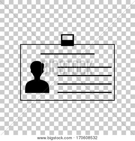 Identification card sign. Black icon on transparent background.