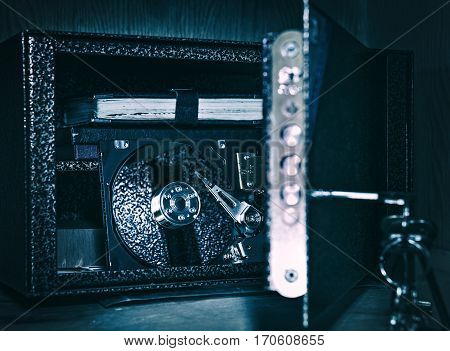 Toned Photo of the Opened Safe with Hard Disk Drive