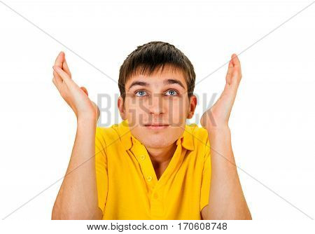 Confused Young Man Isolated on the White Background