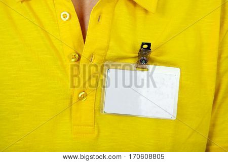 Person with the Blank Badge on the Shirt closeup