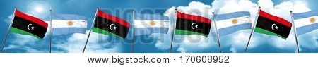 Libya flag with Argentine flag, 3D rendering