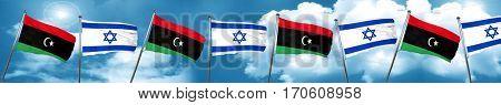 Libya flag with Israel flag, 3D rendering