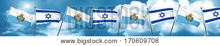 san marino flag with Israel flag, 3D rendering