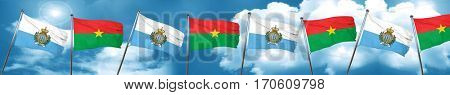 san marino flag with Burkina Faso flag, 3D rendering