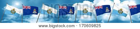 san marino flag with Cayman islands flag, 3D rendering