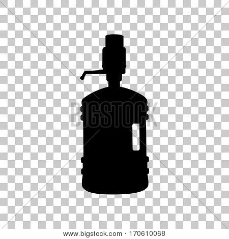 Plastic bottle silhouette with water and siphon. Black icon on transparent background.