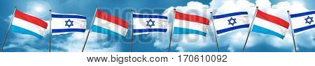Luxembourg flag with Israel flag, 3D rendering