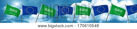 Saudi Arabia flag with european union flag, 3D rendering
