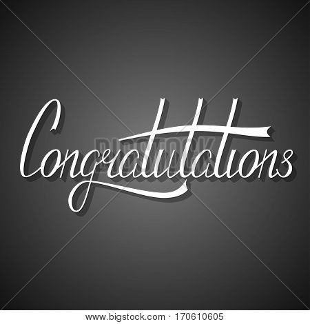 Hand written congratulation lettering made in vector. Congratulation card. Calligraphic banner, template, postcard, poster.