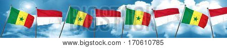 Senegal flag with Indonesia flag, 3D rendering
