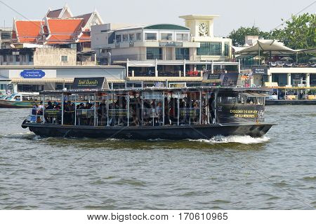 BANGKOK, THAILAND - DECEMBER 12, 2016: River bus on the Chao Phraya river close-up
