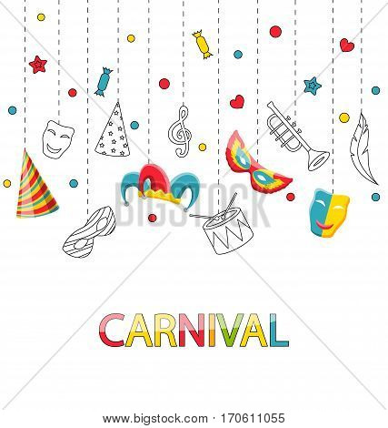 Illustration Greeting Festive Poster for Happy Carnival with Party Colorful Icons and Objects - Vector