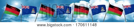 Malawi flag with Cayman islands flag, 3D rendering