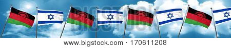 Malawi flag with Israel flag, 3D rendering