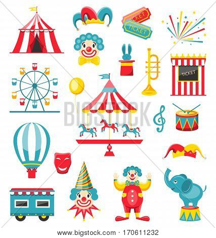 Illustration Circus and Carnival Icons Isolated on White Background - Vector