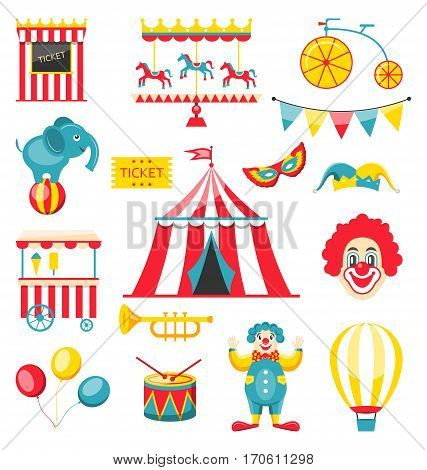Illustration Collection Colorful Elements for Circus and Carnival, Set Objects Isolated on White Background - Vector