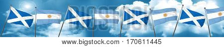 scotland flag with Argentine flag, 3D rendering
