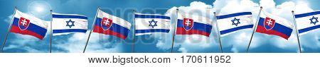 Slovakia flag with Israel flag, 3D rendering