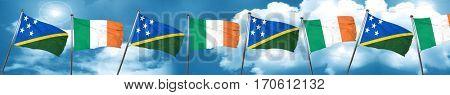 Solomon islands flag with Ireland flag, 3D rendering