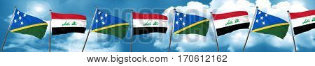 Solomon islands flag with Iraq flag, 3D rendering