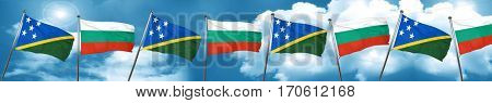 Solomon islands flag with Bulgaria flag, 3D rendering