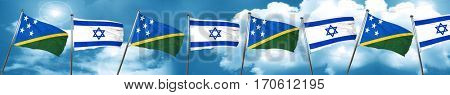 Solomon islands flag with Israel flag, 3D rendering