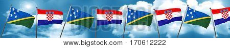 Solomon islands flag with Croatia flag, 3D rendering