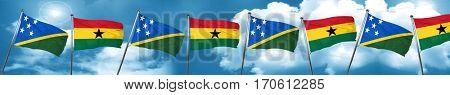 Solomon islands flag with Ghana flag, 3D rendering