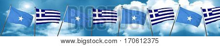 Somalia flag with Greece flag, 3D rendering