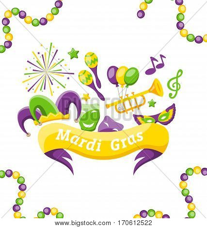 Illustration Celebration Banner with Set Carnival Icons and Objects for Mardi Gras, Fat Tuesday - Vector