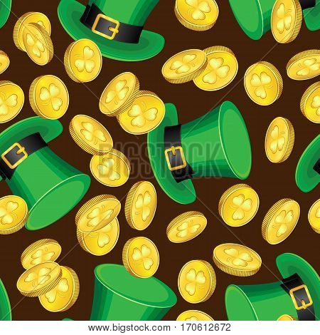 Vector seamless pattern on the day of St. Patrick. Hats and coins on a dark brown background
