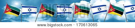 Mozambique flag with Israel flag, 3D rendering