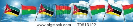 Mozambique flag with Burkina Faso flag, 3D rendering