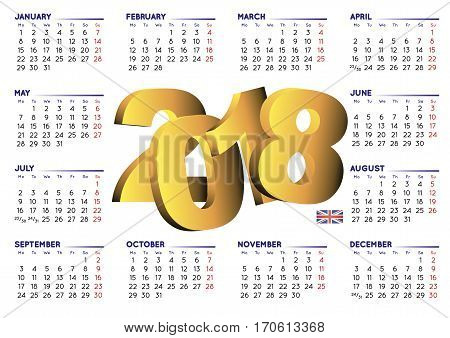 2018 Calendar English Horizontal Uk