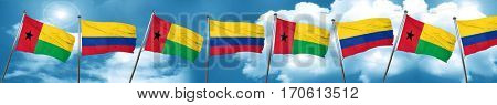 Guinea bissau flag with Colombia flag, 3D rendering