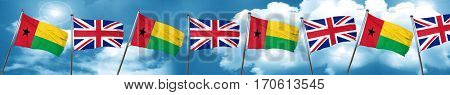 Guinea bissau flag with Great Britain flag, 3D rendering
