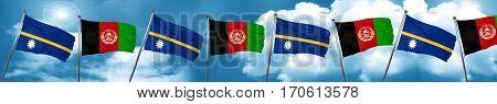 Nauru flag with afghanistan flag, 3D rendering
