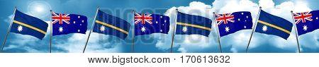 Nauru flag with Australia flag, 3D rendering