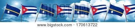 Nauru flag with cuba flag, 3D rendering