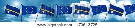 Nauru flag with european union flag, 3D rendering